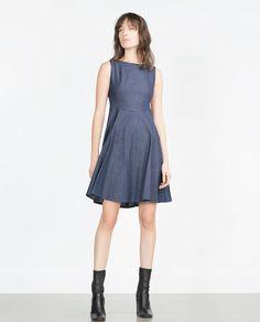 Image 1 of FLARED DENIM DRESS from Zara