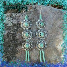 24 HOUR SALEHead Honcho Earrings Mint leather, concho earrings Western, southwest, cowgirl, boho, bohemian, hippie, gypsy Boutique Jewelry Earrings