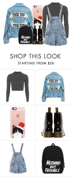 """""""Nothing But Trouble! Yes, You!"""" by unsocialized-homeschooler ❤ liked on Polyvore featuring Topshop, Casetify, Dr. Martens, iphone, overalls, docmartens and coverallshorts"""