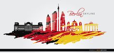 Berlin skyline painted in black, yellow, and red, as the Germany flag. It shows some of the top landmarks of this city:Reichstag, Brandenburg Gate, Kollhoff Tower, DB Building, Berlin Cathedral, Die Gedächtniskirche, and more. Use this vector in touristic promos for travels to Germany. Under Commons 4.0. Attribution License.