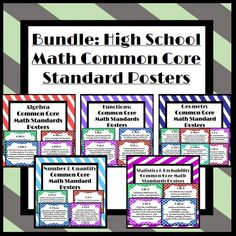 Printable High School Math Common Core Standard Posters (Includes every standard!!!) Easy to print out & hang around a classroom or in a hallway!