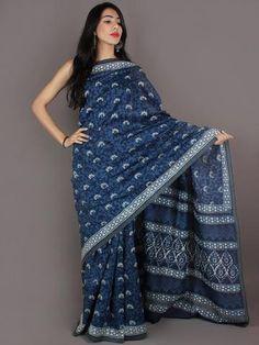 Indigo White Hand Block Printed in Natural Colors Chanderi Saree With Geecha Border - S03170968
