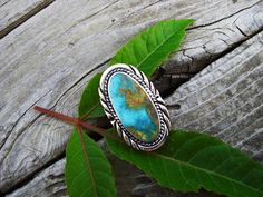 Large turquoise ring in sterling silver by Billyrebs on Etsy