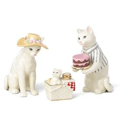 Cat Family Picnic 3-piece Figurine Set by Lenox
