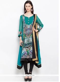 Embroidered Faux Georgette Readymade Suit In Sea Green Model: YOS9401