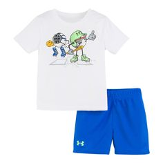 Baby Boy Under Armour Ballers Logo Tee & Shorts Set, Infant Boy's, Size: 24 Months, White Boys Fall Fashion, Baby Boy Fashion, Baby Boy Outfits, Kids Outfits, Under Armour Baby Boy, Under Armour Outfits, Trendy Baby Clothes, Clothing Logo, Stylish Baby