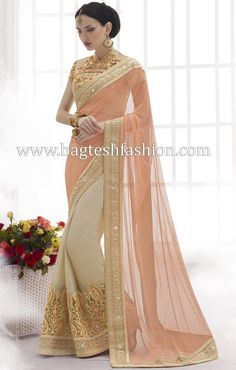 Captivating Peach And Beige Net And Faux Chiffon Saree http://www.bagteshfashion.com/women/sarees/bridal-sarees