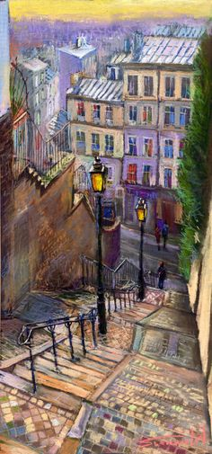 Buy Prints of Paris Montmartre, a Pastel on Paper by Yuriy Shevchuk from Czech Republic. It portrays: Architecture, relevant to: paintings, pastel, steps, street, Paris, montmartre, streetscape, old Original painting by Yuriy Shevchuk   Soft pastel on Fabriano black pastel paper   33x70 cm   original sold      www.shevchukart.com