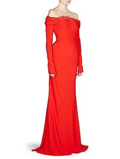 Alexander McQueen Draped Off-The-Shoulder Gown