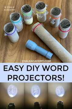 DIY Cardboard Roll Projector Word Shadow Show! Easy learning activity for kids. Eco-friendly way to learn Chinese characters with a DIY cardboard roll projector! This activity is easy to prepare with materials you have at home! Kids Learning Activities, Home Learning, Toddler Activities, Preschool Activities, Summer Activities, Outside Activities For Kids, Vocabulary Activities, Learning Letters, Cardboard Rolls