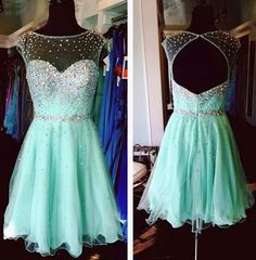 Customized Beautiful Mint Green Homecoming Dresses,Tulle Cocktail Dresses, Backless Beaded Short Homecoming Dresses