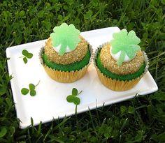 Green Velvet Cupcakes, topped with handmade gumdrop shamrocks