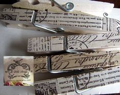 French Script Hand Stamped Ink Clothespins by aLittleScrappy, $5.00