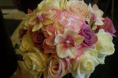 Roses,Hydrangea and Orchids...A beautiful Vintage style bouquet