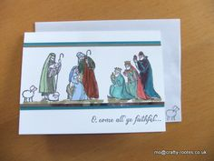Maureen Rootes - mo@crafty-rootes.co.uk - Stampin Up All Ye Faithful coloured with markers and backed onto Silver Foil and Lost Lagoon cardstock