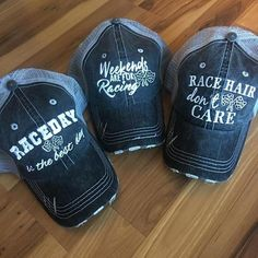 Hats { Racing } Race hair don't care, Weekends are for racing or Raceday is the best day. Customize your hat with names or numbers! - Fitness and Exercises, Outdoor Sport and Winter Sport Weekender, Motocross, Vintage Trucker Hats, Pink Martini, Mom Hats, Dirt Track Racing, Auto Racing, Motorcycle Style, Super Bikes