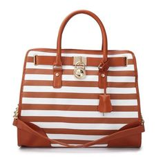 Michael Kors Striped Lock Large Brown Totes Make Every People Show His Or Her Own Style And Taste. #fashion #style