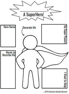 Super Hero Coloring Page Elegant Champions Of Inclusion isw Activities – Colorir. Superhero Preschool, Superhero Classroom Theme, Superhero Kids, Classroom Themes, Superhero Art Projects, Superheroes For Kids, Superhero Writing, Design Your Own Superhero, Create A Superhero