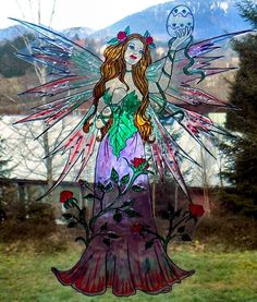 WICOART WINDOW COLOR STICKER CLING FAUX STAINED GLASS PAQUES EASTER FAIRY FÉE