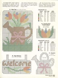 Summer Welcome Coasters Plastic Canvas Books, Plastic Canvas Coasters, Plastic Canvas Stitches, Plastic Canvas Crafts, Plastic Canvas Patterns, Canvas Door Hanger, Wall Canvas, Wall Hanger, Hanging Flower Wall