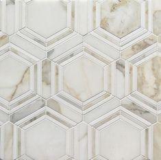 Calacatta Gold Honed Hexagon with Thassos Marble Thin Strip Mosaic Calacatta Gold Marble, Marble Mosaic, Hex Tile, White Kitchen Decor, Home Decor Kitchen, Kitchen Ideas, Kitchen Design, Marble Bathroom Floor, Master Bathroom