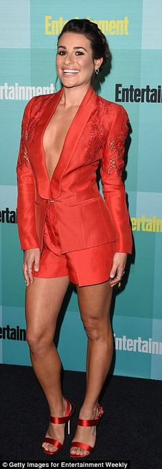 Double trouble! While Emma sported a dress that flattered her figure, Lea flashed her lean...