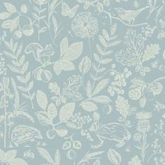 This Country Folk Woodland Wallpaper features woodland animals, wild flowers and leaves in matte white on a soft blue grey background with a smooth matte finish Wallpaper Uk, Wallpaper Paste, Paper Wallpaper, Adhesive Wallpaper, Denmark Street, High Quality Wallpapers, Blue Wallpapers, Woodland Animals, Gray Background