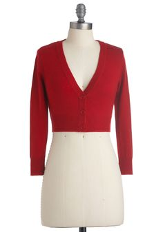 The Dream of the Crop Cardigan in Red. Are you looking for a sublimely stylish specimen of a sweater to come along and add a dollop of darling to your wardrobe? #red #modcloth