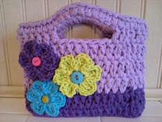 Toddler purse, little girl purse, purse, flower purse, purple purse, birthday gift, easter gift, christmas gift, crochet purse on Etsy, $20.00