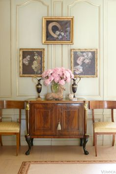 """""""It seems strange, Art Deco with Regency,"""" Vittadini says, but it's not the only juxtaposition—in the master bedroom, a cabinet in the style of Jean-Michel Frank lives in perfect harmony with a 19th-century Italian fruitwood commode. """"I have this philosophy that if you love something, and it's a good design, somehow it all works together,"""" Vittadini says."""
