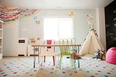 Modern. Colors. Teepee. Play kitchen. Table. Chalk wall