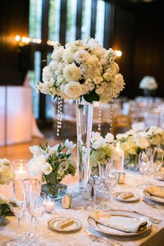 ballroom wedding reception centerpiece; photo: Jasmine Lee Photography