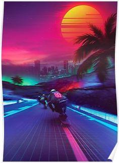 vaporwave neon Synthwave Midnight Outrun by dennybusyet New Retro Wave, Retro Waves, Foto Top, Vaporwave Wallpaper, Neon Noir, Vaporwave Art, Plakat Design, Neon Aesthetic, Aesthetic Space