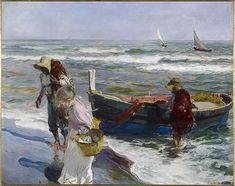 Joaquin Sorolla, Return from Fishing, 1889 Art Print by Fine Earth Prints - X-Small Spanish Painters, Spanish Artists, Oil On Canvas, Canvas Prints, Art Prints, Intermediate Colors, Cross Stitch Supplies, Art Abstrait, Art Graphique