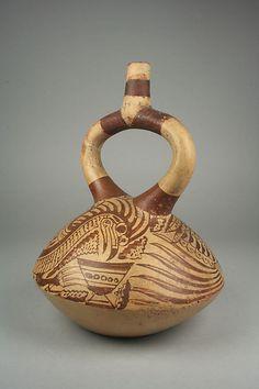 Vaso en forma de pájaro, de la cultura Mochica (Perú). Siglos VII-VIII.