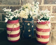 CUSTOM MADE AMERICAN FLAG MASON JAR VASE SET  SET OF 3