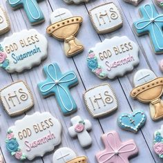 Cake Cookies, Sugar Cookies, Cup Cakes, Cupcake Cakes, Cross Cookies, First Communion Party, Baptism Ideas, Decorated Cookies, Royal Icing