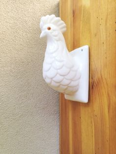 Vintage Ceramic Hanger White Rooster Towel Rack French Country Kitchen Decor Chicken Hen Collection Hat Or Scarf Hook Vintage Decor