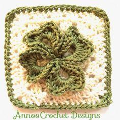 Irish Clover Granny Square free crochet pattern - Free Shamrock Crochet Patterns - The Lavender Chair