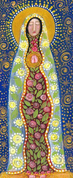 Circle of Love Madonna primitive religious folk art by RoseWalton