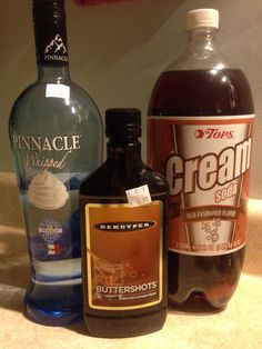 Easy alcoholic butterbeer 2 3/4 cup cream soda 1/4 cup butter shots 1/2 cup whipped vodka top with whipped cream