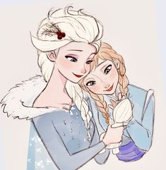 Elsa and Anna holding Olaf, Disney's Frozen