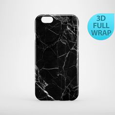 Black Marble Case for iPhone 4 4s 5 5s 5c 6 6s Plus by GiftsMK
