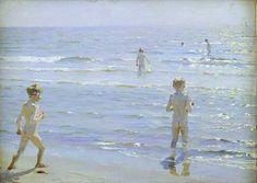 KRØYER, Peder Severin - Boys Bathing at Skagen Beach (1892) (oil on canvas)
