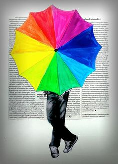 """a new spin on the color wheel assignment - arteascuola: A Rainbow Umbrella!    I swear I can see Gene Kelly """"Singing in the rain"""" in the movie.  Great movie, especially this particular scene.  Classic!"""