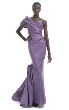 ZAC POSEN/Geometric One Shoulder Evening Gown
