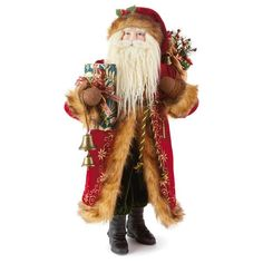 A embroidered coat and hand-painted porcelain face make this exquisite Victorian Santa figurine a true Christmas classic for your holiday mantel. All Gifts, Holiday Gifts, Santa Figurines, Glass Ornaments, Christmas Decorations, Christmas Ideas, Hand Painted, Painted Porcelain