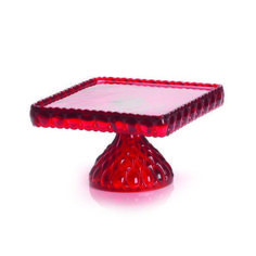 MOSSER GLASS  ELIZABETH SQUARE CAKE STAND RED BRAND NEW  | eBay
