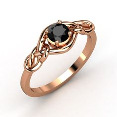 I'm obsessed with Rose Gold! The Sailor's Knot customizable black diamond rose gold engagement ring