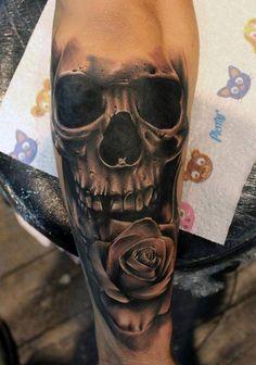 Chronic Ink Tattoo - Toronto Tattoo - Skull and rose tattoo by guest artist Emilio Winter.